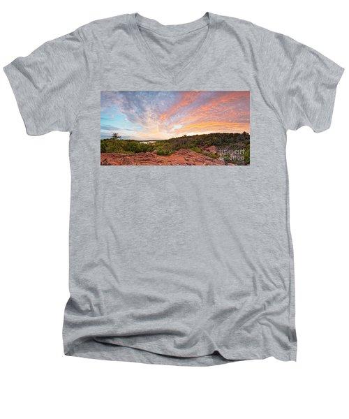 Granite Hills Of Inks Lake State Park Against Fiery Sunset - Burnet County Texas Hill Country Men's V-Neck T-Shirt