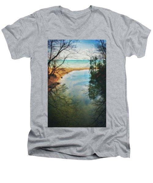 Grant Park - Lake Michigan Shoreline Men's V-Neck T-Shirt by Jennifer Rondinelli Reilly - Fine Art Photography