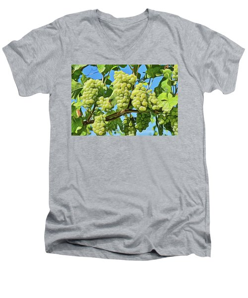 Men's V-Neck T-Shirt featuring the painting Grapes Not Wrath by Harry Warrick