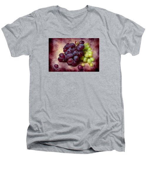 Men's V-Neck T-Shirt featuring the photograph Grapes Red And Green by Alexander Senin