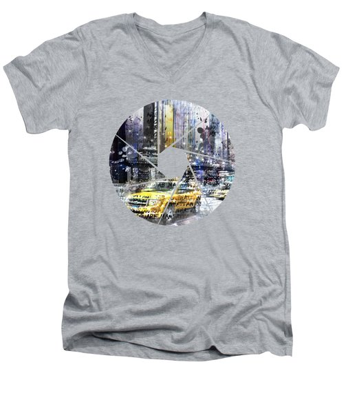 Graphic Art New York City Men's V-Neck T-Shirt by Melanie Viola
