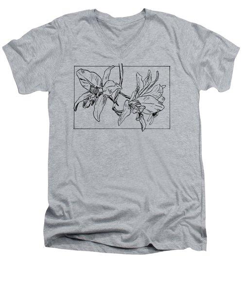Graphic Orchid On Transparent Background Men's V-Neck T-Shirt