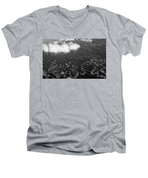 Grass And Water And Lilly Pads Bw2  Men's V-Neck T-Shirt by Lyle Crump