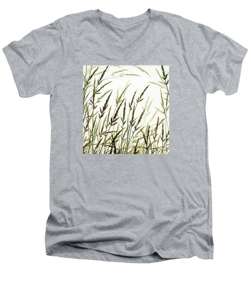 Men's V-Neck T-Shirt featuring the painting Grass Design by James Williamson