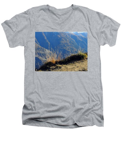 Grass In The Foreground, The Main Valley Of The Swiss Canton Of Valais In The Background Men's V-Neck T-Shirt by Ernst Dittmar