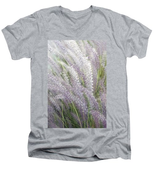 Men's V-Neck T-Shirt featuring the photograph Grass Is More - Nature In Purple And Green by Ben and Raisa Gertsberg