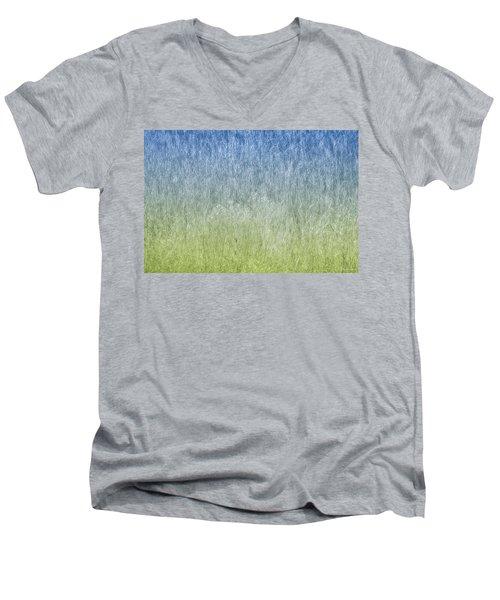 Grass On Blue And Green Men's V-Neck T-Shirt by Glenn Gemmell