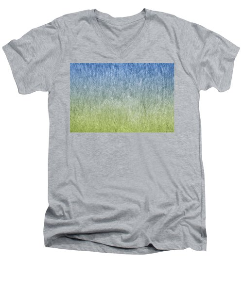 Grass On Blue And Green Men's V-Neck T-Shirt
