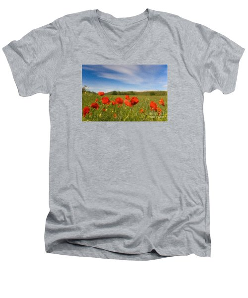 Men's V-Neck T-Shirt featuring the photograph Grassland And Red Poppy Flowers by Jean Bernard Roussilhe