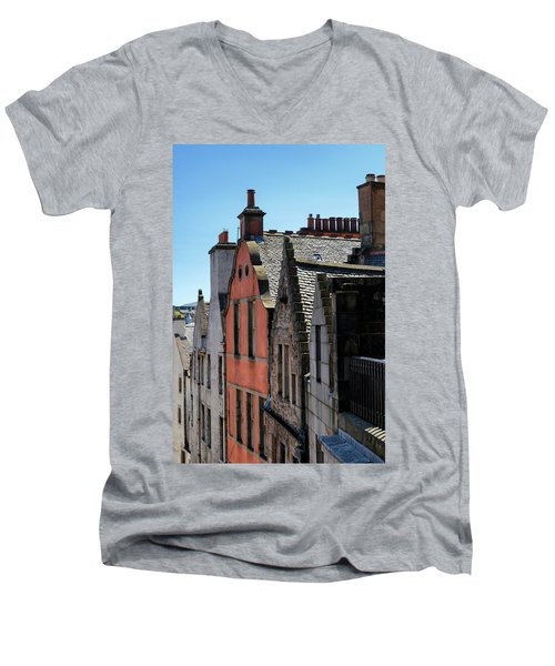 Men's V-Neck T-Shirt featuring the photograph Grassmarket In Edinburgh, Scotland by Jeremy Lavender Photography