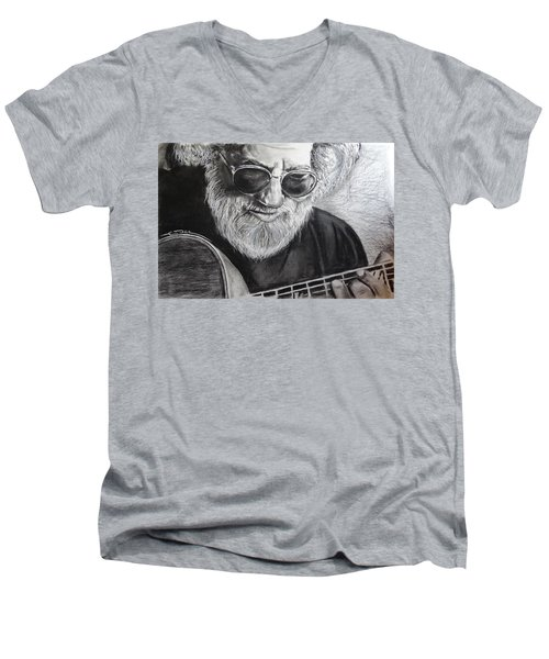 Men's V-Neck T-Shirt featuring the drawing  Grateful Dude by Eric Dee