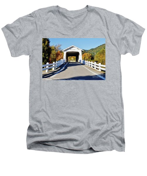 Grave Creek Covered Bridge 1 Men's V-Neck T-Shirt