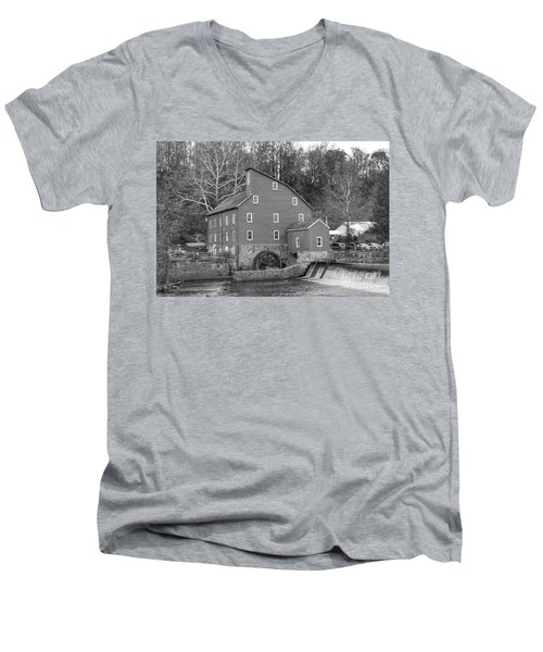 Gray Autumn At The Old Mill In Clinton Men's V-Neck T-Shirt