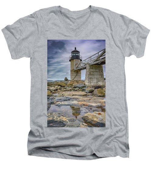 Men's V-Neck T-Shirt featuring the photograph Gray Day At Marshall Point by Rick Berk