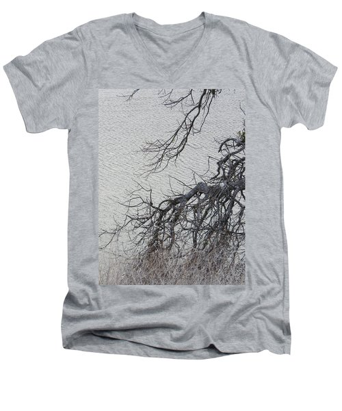 Gray Day At The Lake - Bare Branches Men's V-Neck T-Shirt by Brooks Garten Hauschild