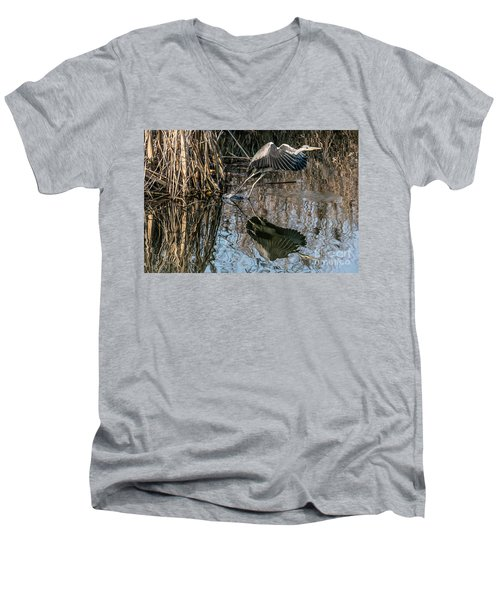 Gray Heron Flew Up Men's V-Neck T-Shirt