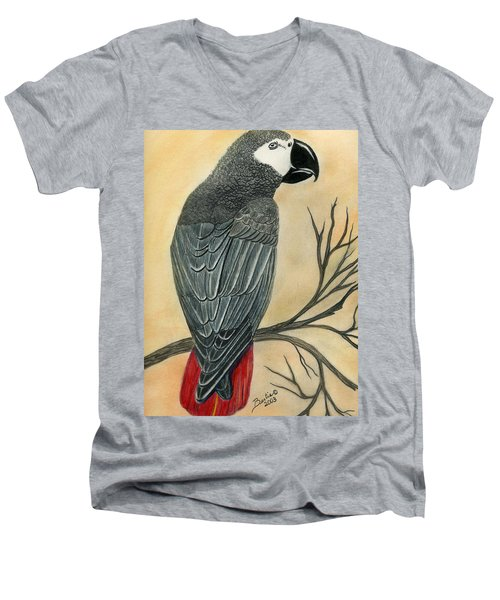 Gray Parrot Men's V-Neck T-Shirt