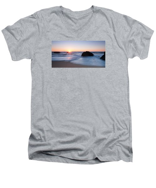 Gray Whale Cove State Beach 3 Men's V-Neck T-Shirt by Catherine Lau