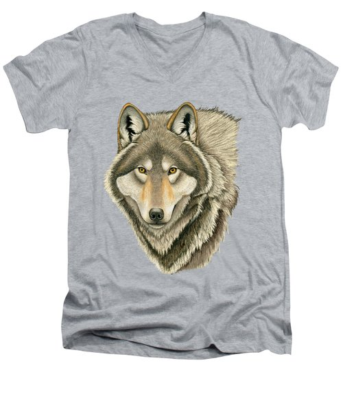 Gray Wolf Portrait Men's V-Neck T-Shirt