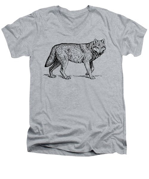 Gray Wolf Timber Wolf Western Wolf Woods Texture Men's V-Neck T-Shirt