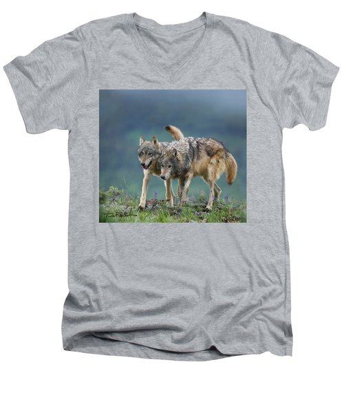 Gray Wolves Men's V-Neck T-Shirt