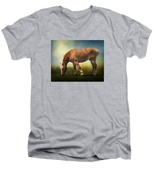 Grazing Belgian Men's V-Neck T-Shirt by David and Carol Kelly