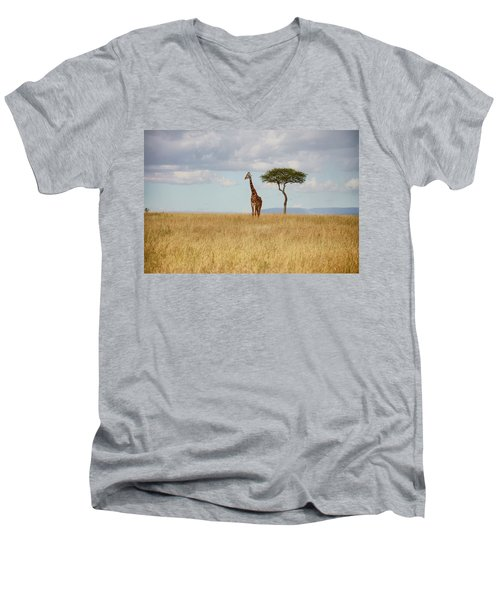 Grazing Giraffe Men's V-Neck T-Shirt