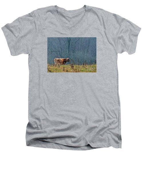 Men's V-Neck T-Shirt featuring the photograph Grazing In Winter by Christian Mattison