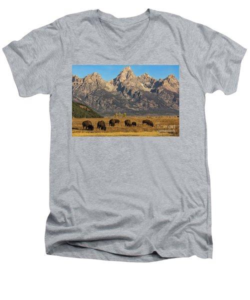 Grazing Under The Tetons Wildlife Art By Kaylyn Franks Men's V-Neck T-Shirt