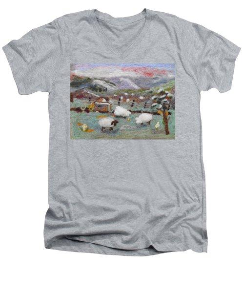 Grazing Woolies Men's V-Neck T-Shirt by Christine Lathrop