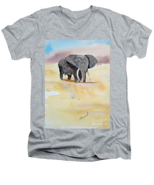 Men's V-Neck T-Shirt featuring the painting Great African Elephant  by Vicki  Housel