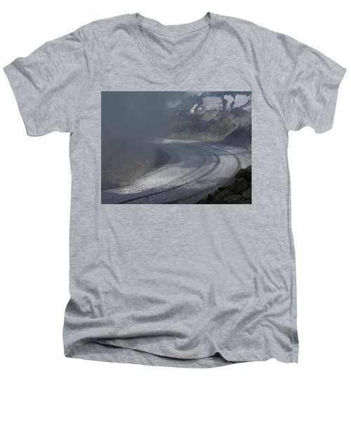 Great Aletsch Glacier In The Clouds. Canton Of Valais, Switzerland. Men's V-Neck T-Shirt by Ernst Dittmar
