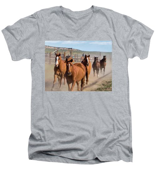Great American Horse Drive - Coming Into The Corrals Men's V-Neck T-Shirt