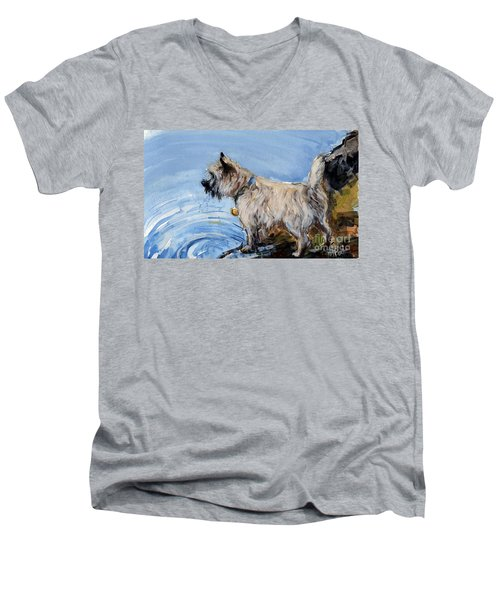 Men's V-Neck T-Shirt featuring the painting Great Bay by Molly Poole