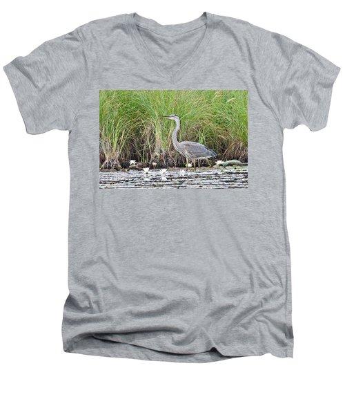 Great Blue Heron 6209 Men's V-Neck T-Shirt