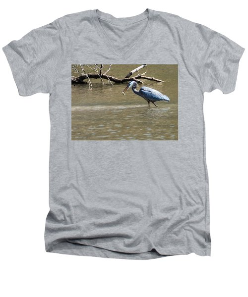 Great Blue Heron Dinning Men's V-Neck T-Shirt