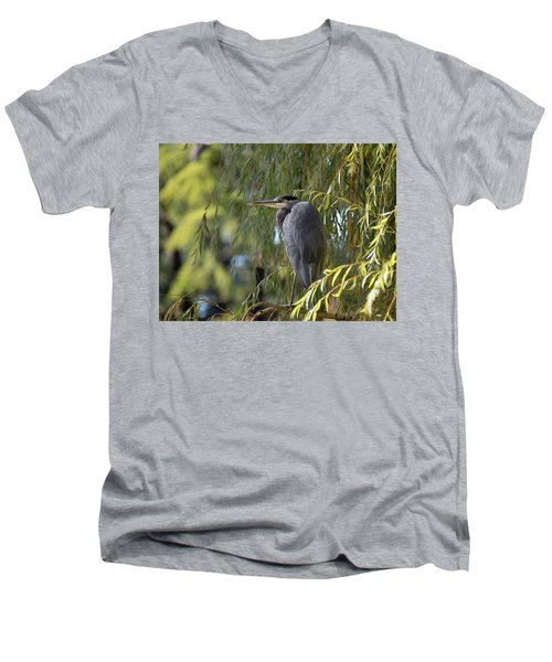 Great Blue Heron In A Willow Tree Men's V-Neck T-Shirt by Keith Boone