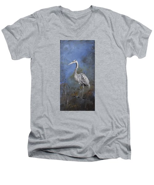 Great Blue Heron In Blue Men's V-Neck T-Shirt