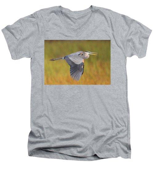 Great Blue Heron In Flight Men's V-Neck T-Shirt