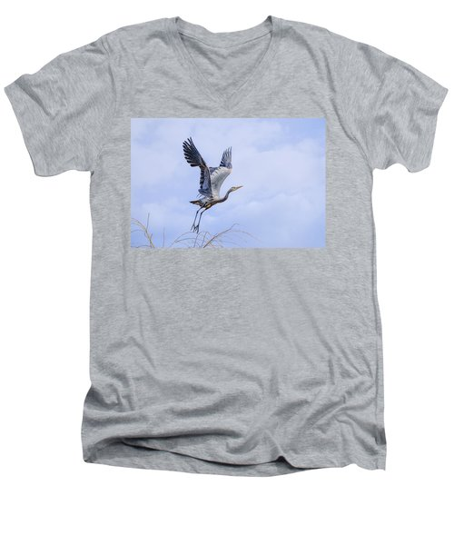 Great Blue Heron In Flight Men's V-Neck T-Shirt by Keith Boone