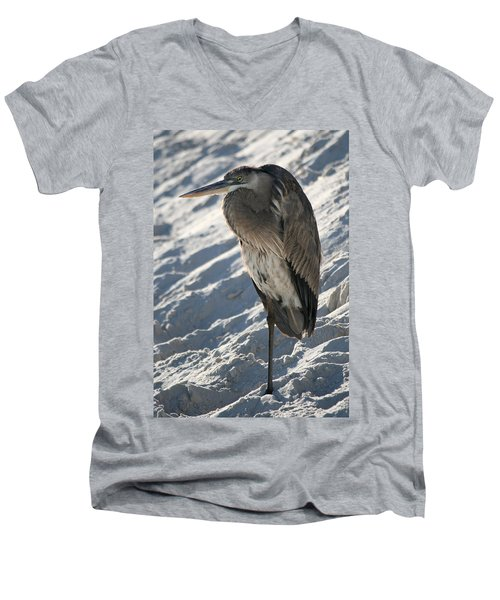 Men's V-Neck T-Shirt featuring the photograph Great Blue Heron by Kathleen Scanlan
