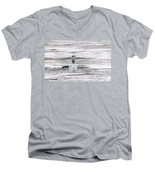 Great Blue Heron On A Frozen Lake Men's V-Neck T-Shirt