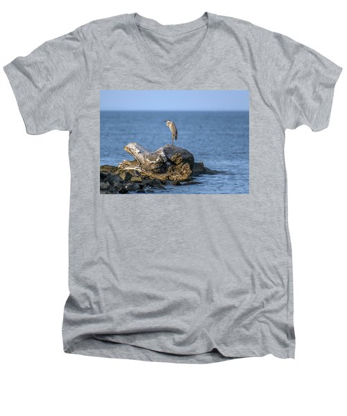 Great Blue Heron On Chesapeake Bay Men's V-Neck T-Shirt