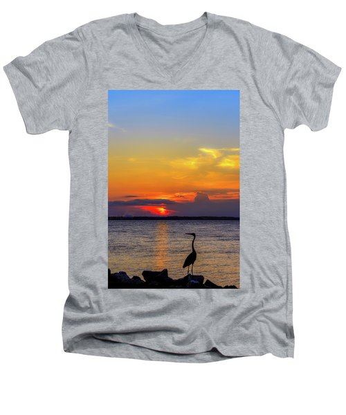 Great Blue Heron Silhouette Men's V-Neck T-Shirt