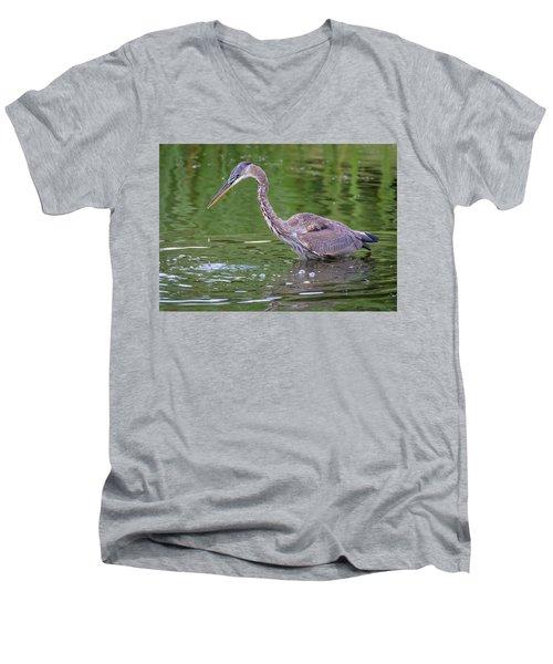 Great Blue Heron - The One That Got Away Men's V-Neck T-Shirt