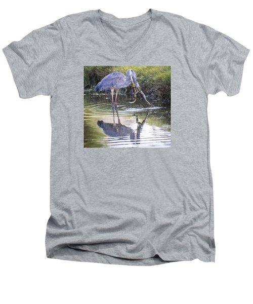 Great Blue Heron Vs Huge Frog Men's V-Neck T-Shirt by Ricky L Jones