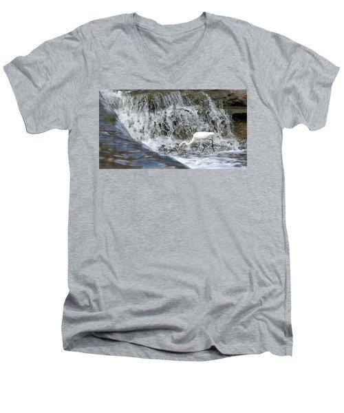 Great Egret Hunting At Waterfall - Digitalart Painting 1 Men's V-Neck T-Shirt