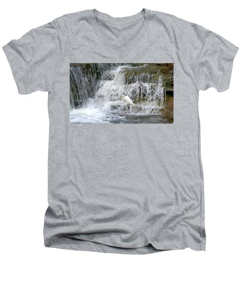 Great Egret Hunting At Waterfall - Digitalart Painting 4 Men's V-Neck T-Shirt