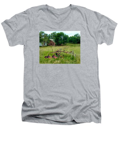 Great Grandpa's Plow Men's V-Neck T-Shirt by Ric Darrell