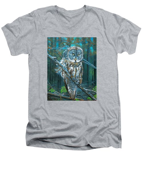Great Grey Owl Men's V-Neck T-Shirt by Sharon Duguay